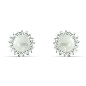 6mm freshwater pearl simulated diamond stud earrin